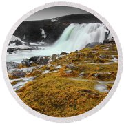 Waterfalls Of Iceland Round Beach Towel