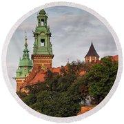 Wawel Royal Castle In Krakow Round Beach Towel
