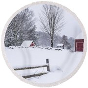 Wayside Inn Grist Mill Covered In Snow Storm Round Beach Towel