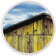 Weathered Wooden Barn, Gaviota, Santa Round Beach Towel