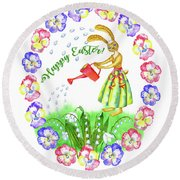 Welcome Spring.rabbit And Flowers Round Beach Towel