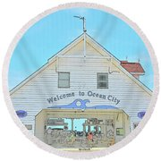 Welcome To Ocean City Round Beach Towel