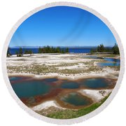 West Thumb Geyser Basin In Yellowstone National Park Round Beach Towel
