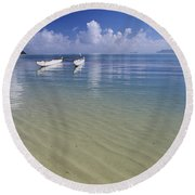 White Double Hull Canoe Round Beach Towel