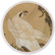 White Eagle Eyeing A Mountain Lion Round Beach Towel