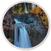 White River Falls State Park Round Beach Towel