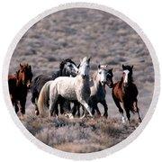 Wild Horses Round Beach Towel
