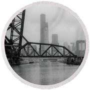 Willis Tower In Fog Round Beach Towel