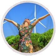 Wind Turbines Woman Round Beach Towel