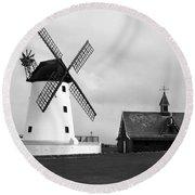 Windmill At Lytham St. Annes - England Round Beach Towel