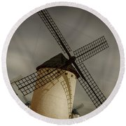 Windmills At Campo De Criptana Round Beach Towel