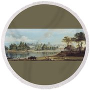 Windsor Castle From The Eton Shore Round Beach Towel