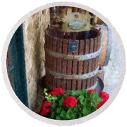 Wine And Geraniums Round Beach Towel
