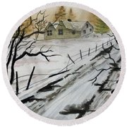 Winter Farmhouse Round Beach Towel