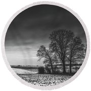 Winter Fields Round Beach Towel