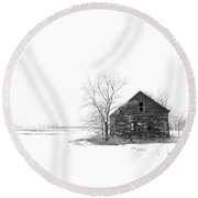 Winter In Pulaski Round Beach Towel