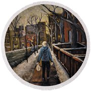 Winter In The City Round Beach Towel
