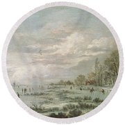 Winter Landscape Round Beach Towel by Aert van der Neer