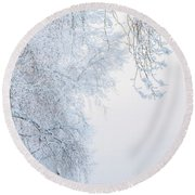 Winter Landscape With Snow-covered Trees Round Beach Towel
