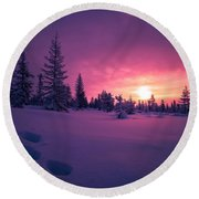Winter Lanscape With Sunset, Trees And Cliffs Over The Snow. Round Beach Towel