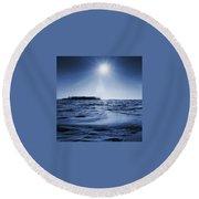 Winter Setting Sun Blue Toned Round Beach Towel
