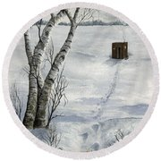 Winter Splendor Round Beach Towel