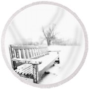 Winter Time Round Beach Towel