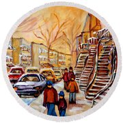 Winter Walk In Montreal Round Beach Towel