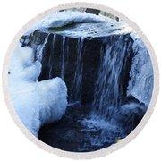 Winter Waterfall Round Beach Towel