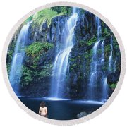 Woman At Waterfall Round Beach Towel
