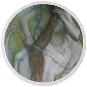 Woman Combing Her Hair Round Beach Towel by Edgar Degas