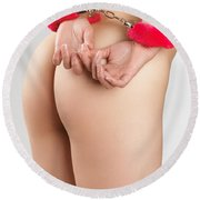 Woman Hands In Pink Handcuffs Round Beach Towel
