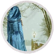 Woman In Snow Scene Round Beach Towel