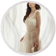 Woman In Vintage Negligee Round Beach Towel