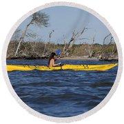 Woman Kayaking Round Beach Towel
