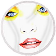Woman Scent Watercolor Painting Round Beach Towel