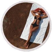 Woman Sunbathing Round Beach Towel