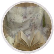 Woman With A Book Round Beach Towel by Joana Kruse