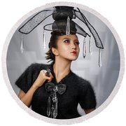 Woman With Chandelier Headdress Round Beach Towel