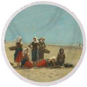 Women On The Beach At Berck Round Beach Towel