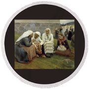 Women Outside The Church At Ruokolahti Round Beach Towel