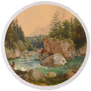 Wooded River Landscape In The Alps Round Beach Towel