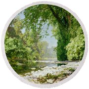 Wooded Riverscape Round Beach Towel by Leopold Rolhaug