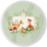 Woodland Fairytale - Animals Deer Owl Fox Bunny N Mushrooms Round Beach Towel