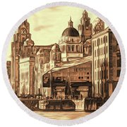 World Famous Three Graces Round Beach Towel