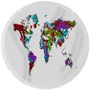 World Map 1b Round Beach Towel