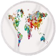 World Map 3b Round Beach Towel