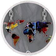 World Map Collection Round Beach Towel