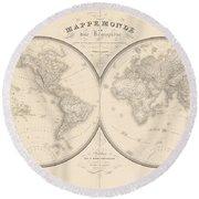 World Map In Two Hemispheres Round Beach Towel