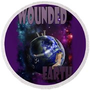 Wounded Earth Round Beach Towel